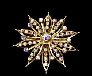 aurora borealis, gold tone, and 1960s jewelry image