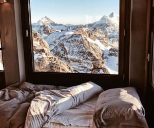 home, snow, and mountains image