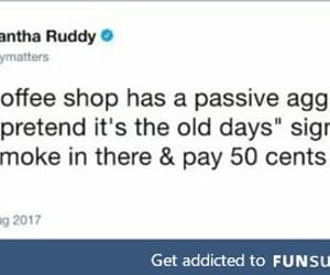 coffee shop, passive aggressive, and funny tweet image