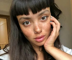 bangs, freckles, and girl image
