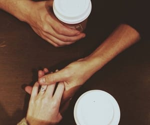 coffee, couple, and holdinghands image