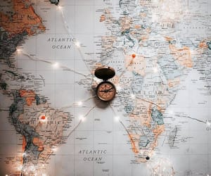 map, lights, and travel image