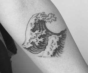 arm, black and white, and mermaid image