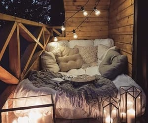 bed, lights, and home image