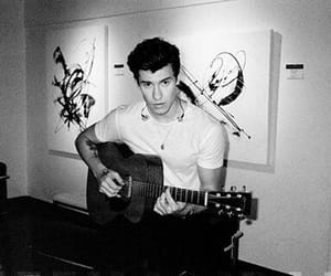 shawn mendes, black and white, and guitar image