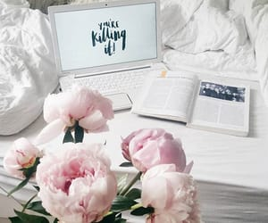 book, study, and flowers image
