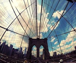 big apple, blue, and brooklyn bridge image