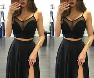 long prom dress, black prom dress, and evening dress two piece image