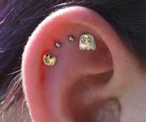 piercing, pacman, and earrings image