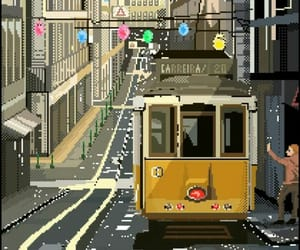 cable car, pixel art, and portugal image