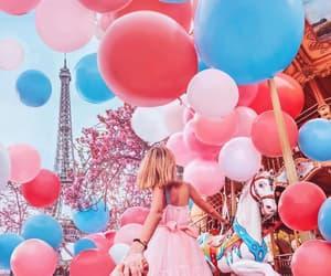 balloons, girl, and paris image
