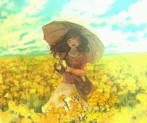 anime, flowers, and umbrella image