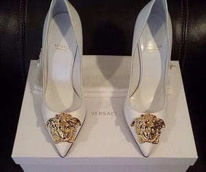 Versace, heels, and white image