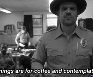black and white, stranger things, and coffee image