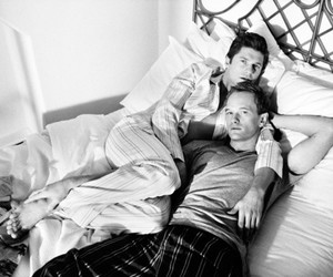 bed, black and white, and couple image