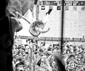 crowd surfing, festival, and black and white image