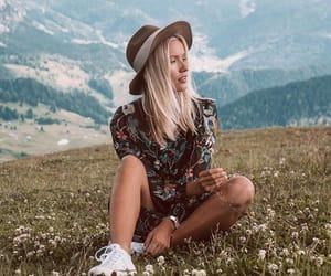 beauty, blonde, and flowers image