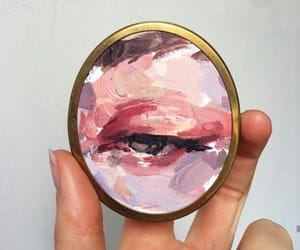 eye, painting, and pink image