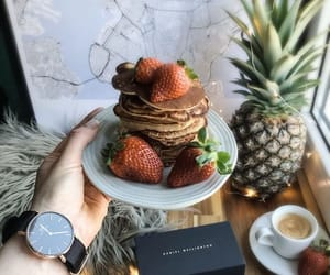 coffee, fruit, and pancakes image