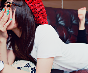 girl, glasses, and nails image