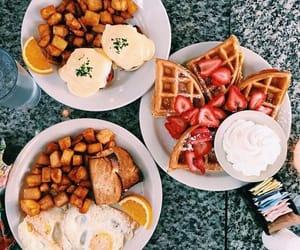 food, breakfast, and waffles image