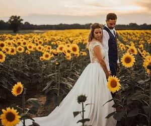 girls, sunflowers, and wedding goals image