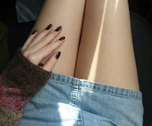 black nails, legs, and skirt image