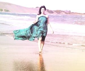 beach, walking, and darkhair image