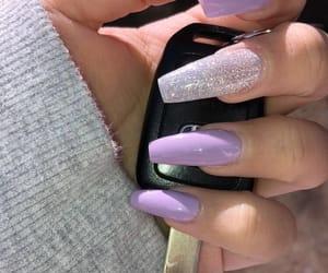 nails, acrylic, and purple image