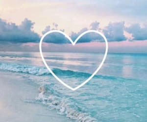 wallpaper, heart, and sea image