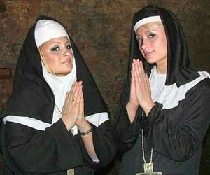 paris hilton, nicole richie, and nun image