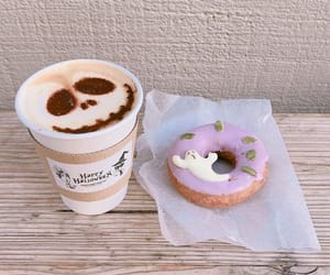 coffee, donuts, and autumn image
