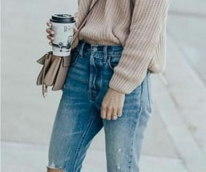 coffee, outfit, and beige image