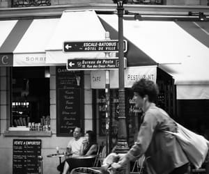 bicycle, black and white photography, and cafe image