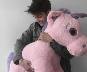 boy, pink, and plush toy image