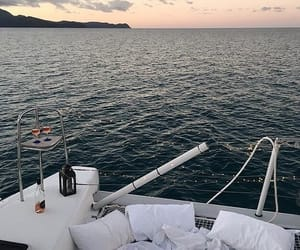 boat, food, and sunset image