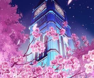 clock, sakura, and anime scenery image