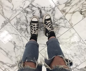 black, ripped jeans, and converse image