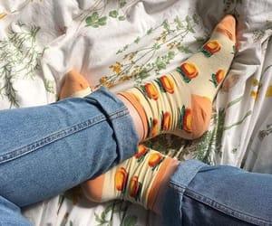 socks, peach, and aesthetic image