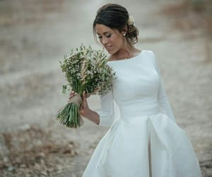bouquet, girl, and wedding image