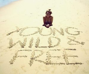 beach, young, and free image