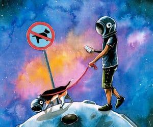art, astronaut, and dog image