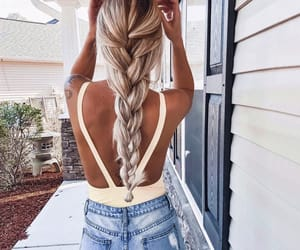 girl, braid, and fashion image