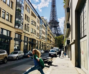 eiffel tower, jump, and paris image
