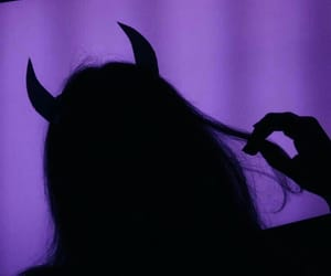 Devil, girl, and purple image
