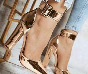 golden, high heels, and style image