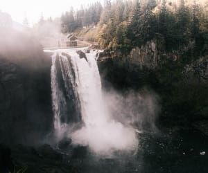 falls, landscape, and mountains image