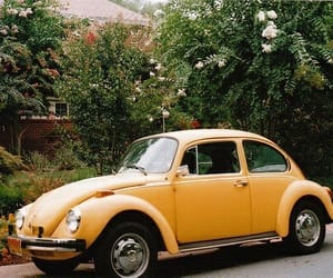 vintage, car, and yellow image