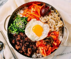 food, korean, and bibimbap image