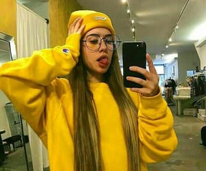 yellow, girl, and glasses image